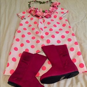 2T Girl GAP Mindi Hot Pink Polka Dot Dress